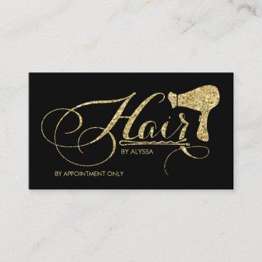 Elegant Gold Glitter Script Hair Stylist Appointment Card