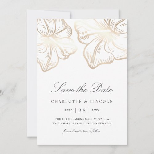 Elegant Gold Hibiscus Flower Wedding Save The Date
