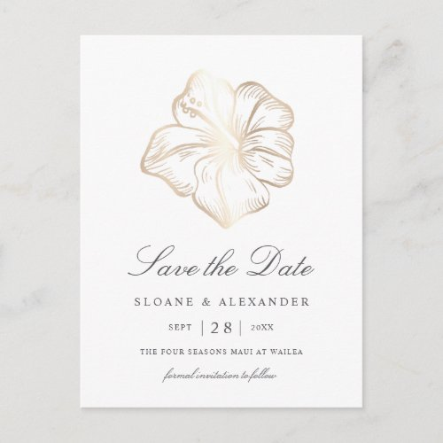 Elegant Gold Hibiscus Flower Wedding Save the Date Announcement Postcard