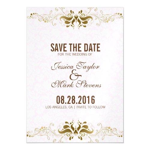 Elegant Gold  Lace White Damasks Magnetic Invitation