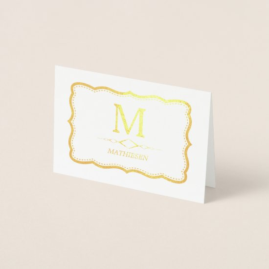 Elegant Gold Monogram Foil Card