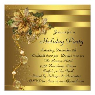 Elegant Gold Poinsettia Black Gold Christmas Party Personalized Invites