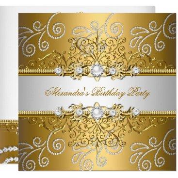 Elegant Gold Silver Lace Diamond Overlay Party Invitation