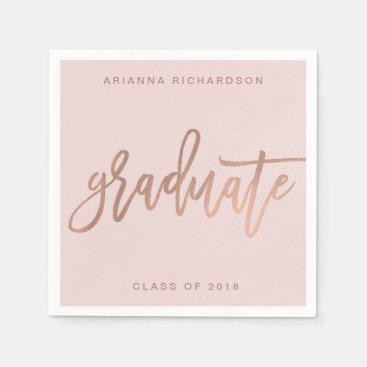 Elegant Graduate   Blush Pink and Faux Rose Gold Napkins