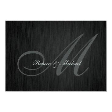 Elegant Gray Monogram Wedding RSVP Card