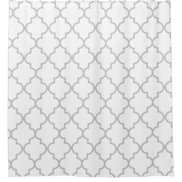 Elegant Gray White Moroccan Quatrefoil Pattern Shower Curtain