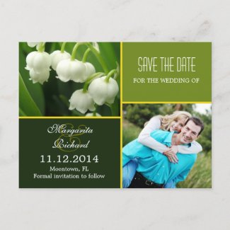 elegant green save the date photo postcards