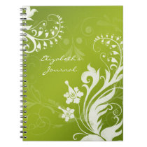 Elegant Green White Personalized Journal Notebook