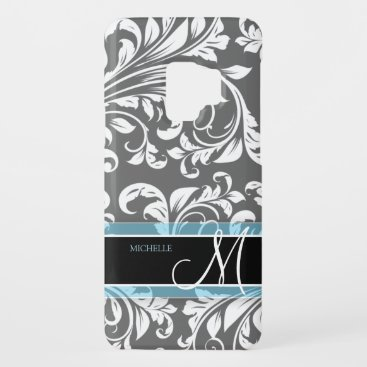 Elegant Grey and white floral damask w/ monogram Case-Mate Samsung Galaxy S9 Case