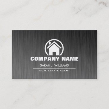 Elegant Grey and White Real Estate Business Card