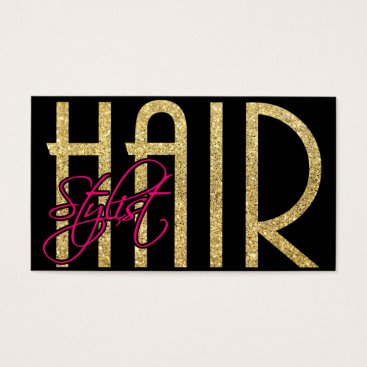 Elegant Hair Stylist - Gold, Black and Pink Business Card