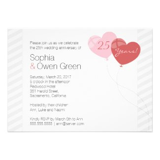Heart Balloon 25th Wedding Anniversary Party Invitations