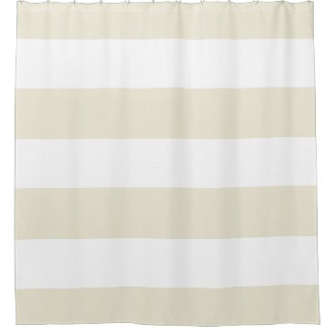Elegant Ivory and White Stripes with Monogram Shower Curtain