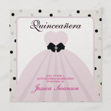 Elegant Lavender Blush and Black Quinceanera Invitation