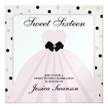 Elegant Lavender Blush and Black Sweet Sixteen Invitation