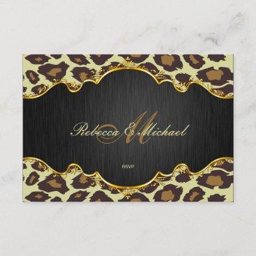 Elegant Leopard Monogram Wedding RSVP Cards