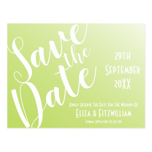 Elegant Lime Green Ombre Save The Date Postcard