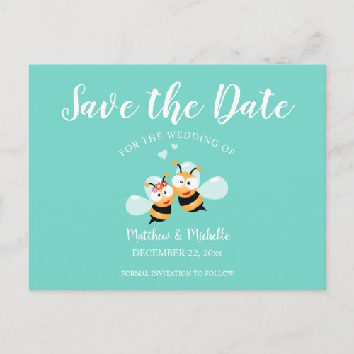 Elegant Mint To Be Honey Bee Save The Date Wedding Announcement Postcard