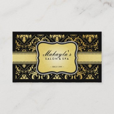 Elegant Modern Black and Metallic Gold Damask Business Card