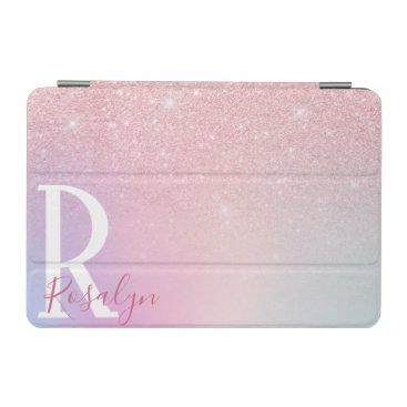Elegant modern girly ombre pink rose gold glitter iPad mini cover