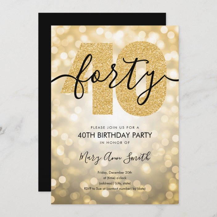 elegant modern gold 40th birthday party invitation zazzle com