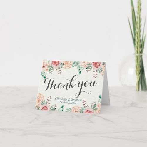 Elegant Modern Watercolor Floral Wedding Thank You