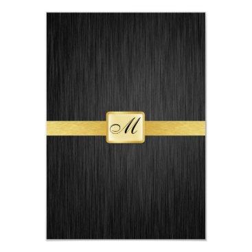 Elegant Monogram black and gold Thank You Card