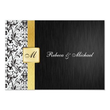 Elegant Monogram Damask Wedding RSVP Card