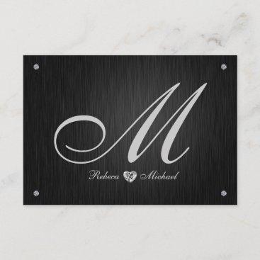 Elegant Monogram  & Diamond Wedding RSVP Cards.