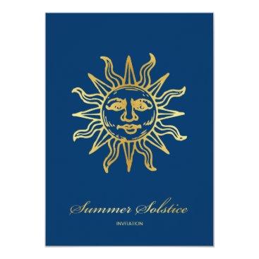 Elegant Navy Blue & Gold Metallic Summer Solstice Invitation