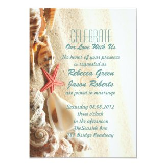 elegant ocean sand seashells beach wedding 5x7 paper invitation card