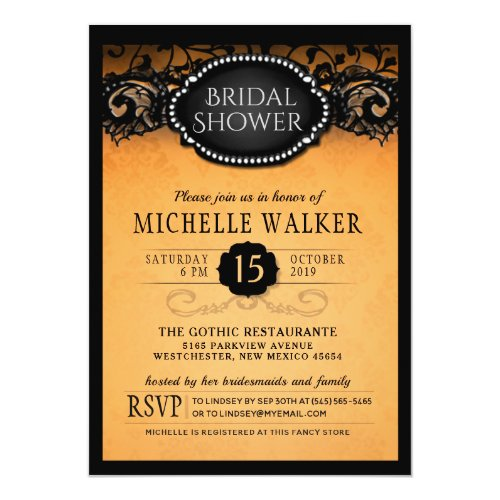 Elegant Orange Halloween Bridal Shower Invitation