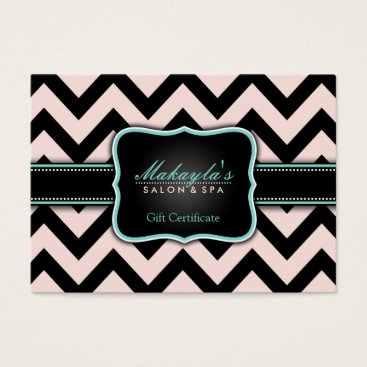 Elegant Pastel Pink and Black Chevron Gift Business Card
