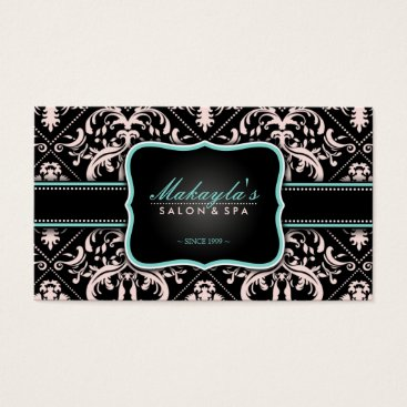 Elegant Pastel Pink and Black Vintage Damask Business Card