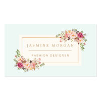 Elegant Pastel Watercolor Floral Boutique Decor Standard Business Card