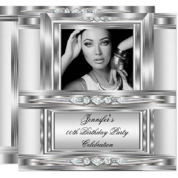 Elegant Photo Silver White Diamond Birthday Party Card