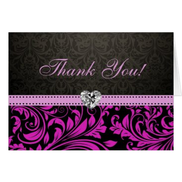 Elegant Pink and Black Damask with Diamond Heart