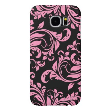 Elegant Pink and Black Floral Damask Samsung Galaxy S6 Case
