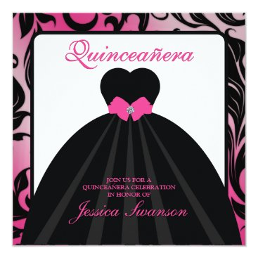Elegant Pink and Black Quinceanera with diamond Card