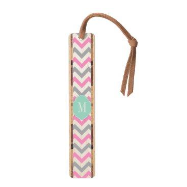 Elegant Pink and Gray Chevron with Monogram Bookmark