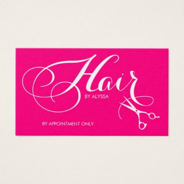 Elegant Pink and Silver Script Hair Stylist Business Card