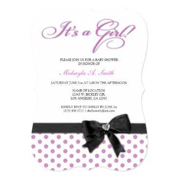 Elegant Pink and White Polka-Dots - It's a Girl! Card