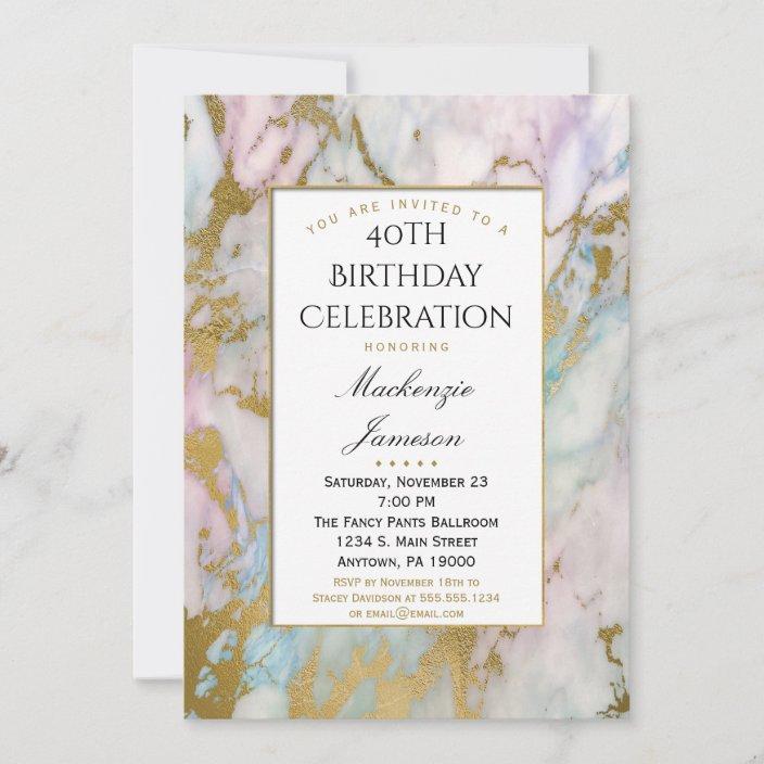 elegant pink blue gold marble birthday invitation zazzle com