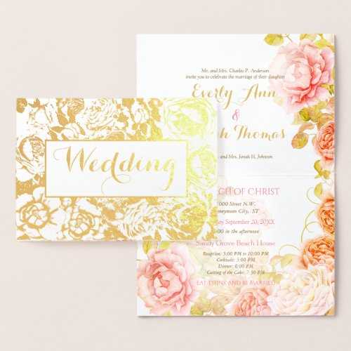 Elegant Pink, Coral Gold Foil Rose Wedding Foil Card