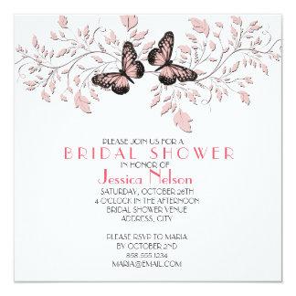 Elegant Pink Floral Butterfly Bridal Shower Invitation
