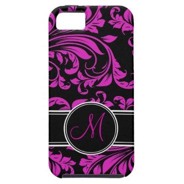 Elegant Purple and black damask with monogram iPhone SE/5/5s Case