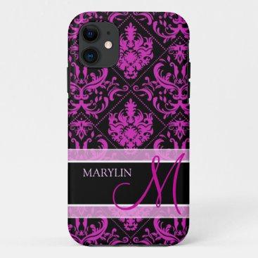 Elegant Purple & Black Damask with monogram iPhone 11 Case