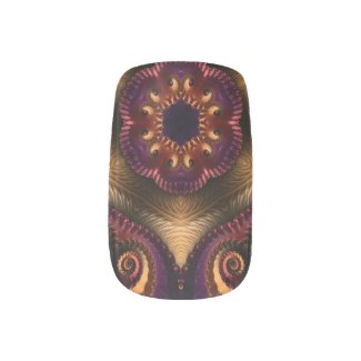 Elegant Purple Cream/BLK Fractal Minx Nail Art