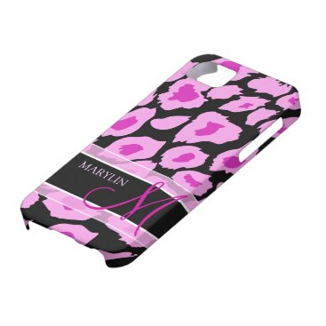 Elegant Purple & Pink Leopard spots with monogram iPhone SE/5/5s Case