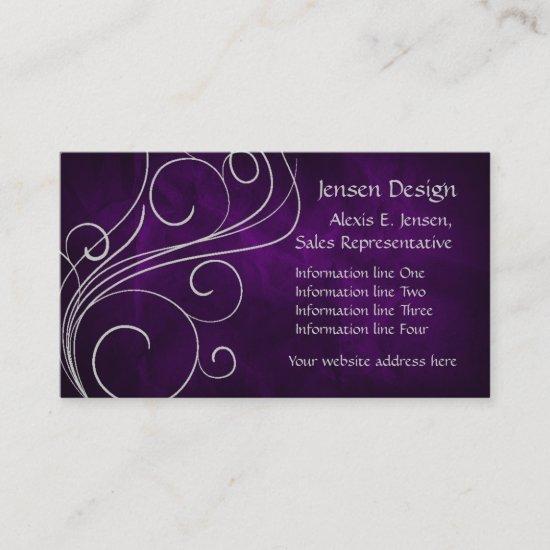 Elegant Purple Silver Swirl Business Card